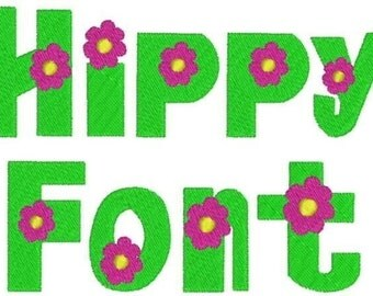 Hippy Font Embroidery Design