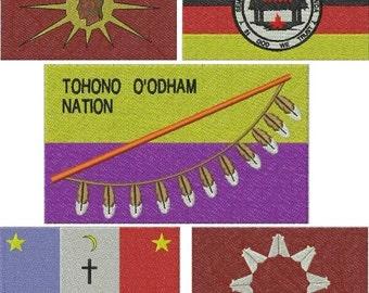 Native American Flag Emb roidery Design SINGLE