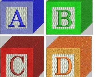 Baby Block Alphabet Embroidery Designs