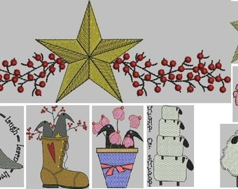Primitive Embroidery Designs -- Sheep, Crows, Stars, Berries