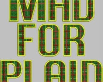 Mad for Plaid Alphabet Embroidery Design