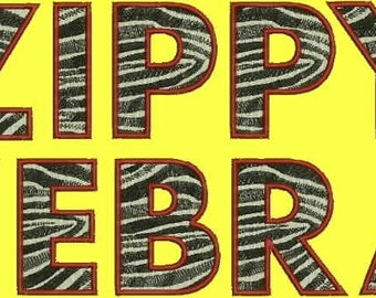 Zippy Zebra Alphabet Embroidery Designs