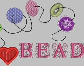 I Love Beads Embroidery Design