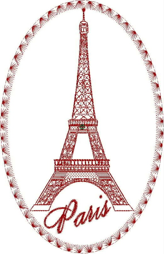 Eiffel Tower Embroidery Design Collection By Drusdesigns
