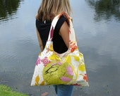 The Chanelle Diaper Bag - Reversible - Bird Love/Branching Out Ivory - LAST ONE (ready to ship)