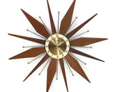 Vintage Starburst Wall Clock -  Sunburst Teak Wood Forestville Clock