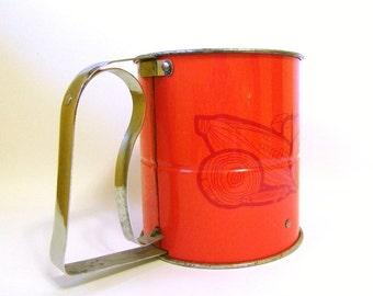 Vintage Orange Flour Sifter,  Vintage Sifter, Retro Kitchenware for Kitchen