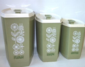 Vintage Green Plastic Canisters