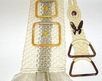 Vintage Macrame Towel Holders for Bathroom or Kitchen Wall Hanging