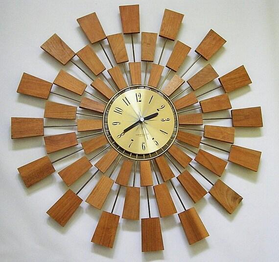 Retro Westcox Teak Wook Starburst Sunburst Wall Clock