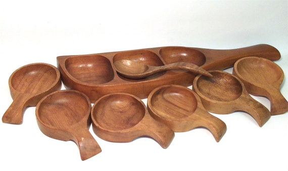 Vintage Teak Wood Wooden Serving Bowls And By Retroclassics
