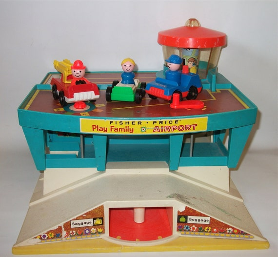 Vintage Fisher Price Airport Playset Vintage Play Family Airport for Children