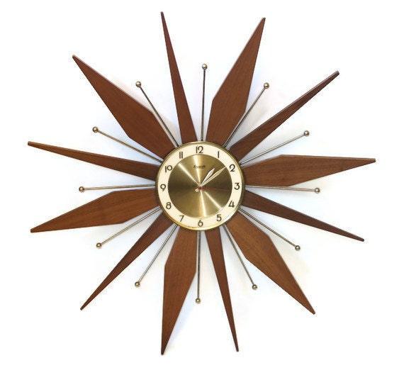 vintage starburst wall clock sunburst teak wood forestville
