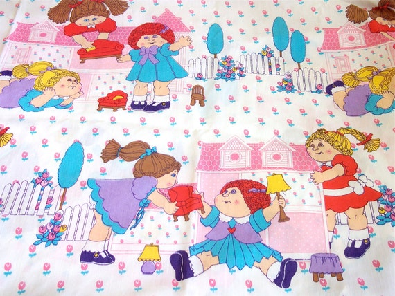 Vintage Cabbage Patch Twin Size Bedsheet - Vintage Children's Bedding