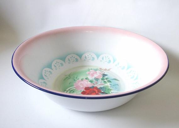 Vintage Large Enamel bowl Graniteware Enamelware Basin
