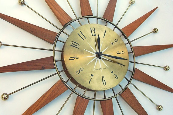 Retro Sunburst Starburst Teak Wood Westclox Wall Clock
