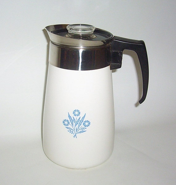 9 Cup Corning Ware Coffee Pot Cornflower Complete