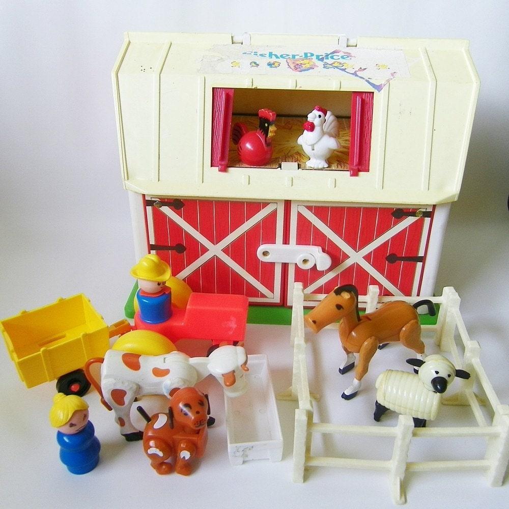 Vintage Fisher Price Little People Farm Barn By Retroclassics