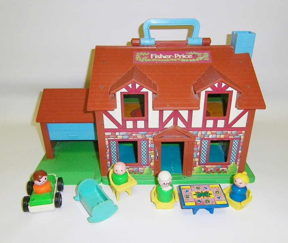 vintage fisher price house vintage little people playset toy. Black Bedroom Furniture Sets. Home Design Ideas