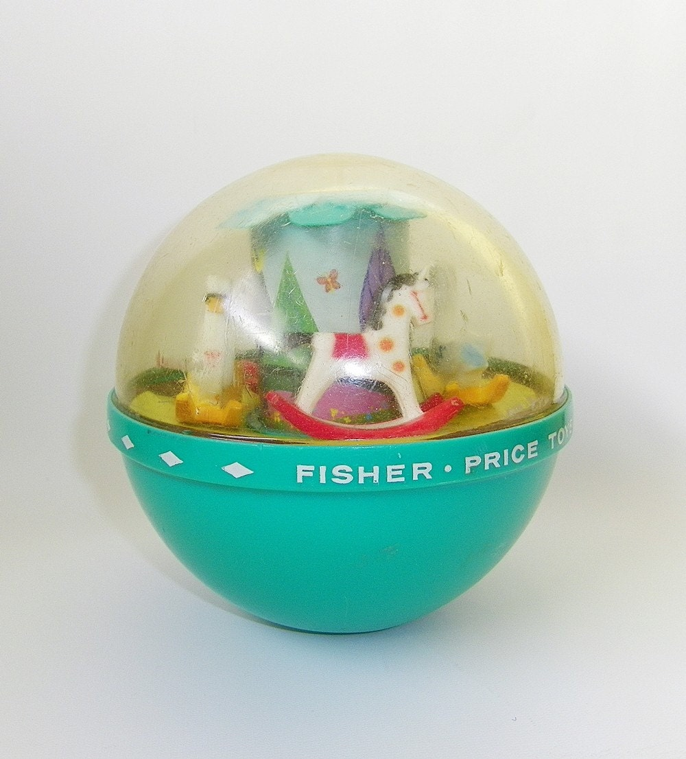 Vintage Fisher Price Musical Roly Poly Chime Ball Baby Toy For