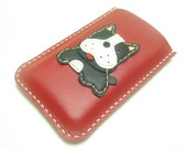 iPhone 5 Leather Sleeve - Deuce the Boston Terrier iphone Leather case ( Red )