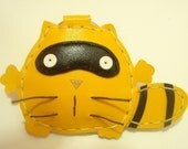 Ronnie the Raccoon Leather Keychain ( Yellow )