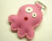 Leather Keychain - Cookie the Octopus Leather Charm ( Pink )
