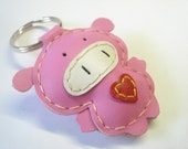 Polly the Pig Leather Keychain ( Pink )
