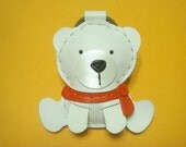 Julian the Polar Bear Leather Keychain ( White / Orange )