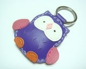 Lovely Fanny the Owl Leather Keychain ( Bright Purple )