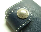 Blue Leather Wallet ( Indian Head Concho )