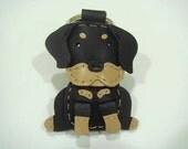 Martin the Rottweiler leather keychain ( Black )