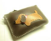 Jemma the Dachshund Leather Purse ( Brown )
