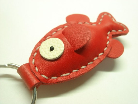 Lovely Fish Leather Keychain ( Red )