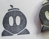 Bob-omb - handcarved rubber stamp