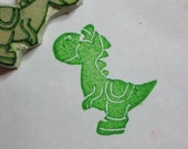 Yoshi - handcarved rubber stamp