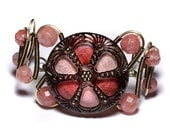 Steampunk Jewelry - Bracelet - Copper brass Czech Glass Pink Rose AB Glitter Back Glass - Rose Quartz