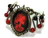 Steamgoth Jewerly - Bracelet - Skeleton Lady - Red and Black