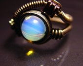 STEAMED - 6.5 - Artistic STEAMPUNK wire ring with MOONSTONE bead
