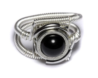 Steampunk Jewelry - Ring - Black Onyx - Silver tone