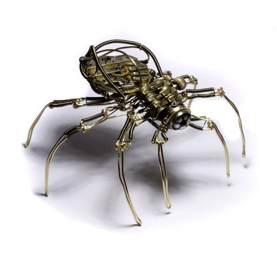Steampunk Cyclopean clockwork Spider Robot Sculpture  - Copper Brass Watch movement and Taxidermy glass eye - OOAK