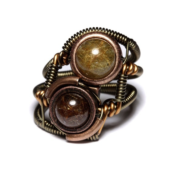 New Steampunk Jewelry - RING - GOLDEN and COPPER RUTILATED QUARTZ - OOAK SIZE 10 ONLY