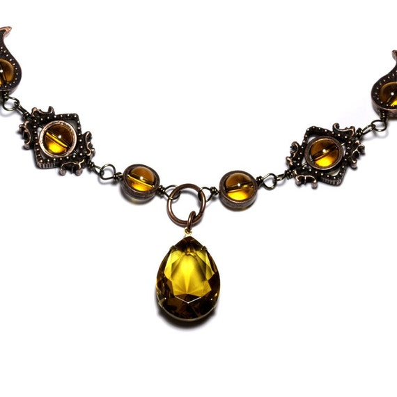 Steampunk Jewelry - Necklace - Yellow Citrine Pear Shape Faceted Supreme Quality Diamond Cut Glass Gem Stone Jewel - VICTORIAN