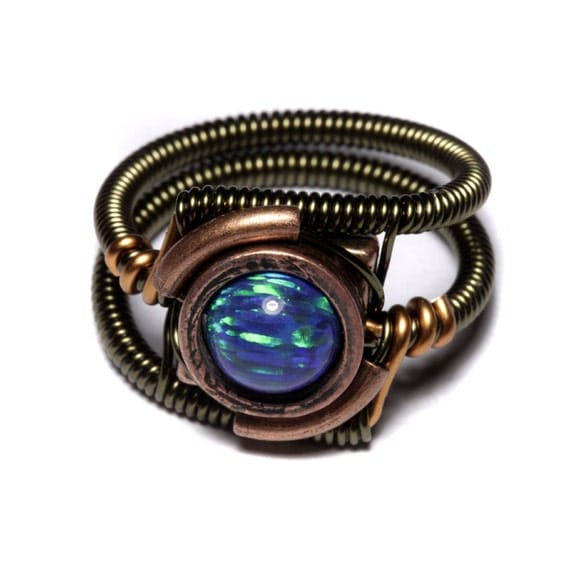 Steampunk Jewelry - Ring - Turquoise LAB created OPAL