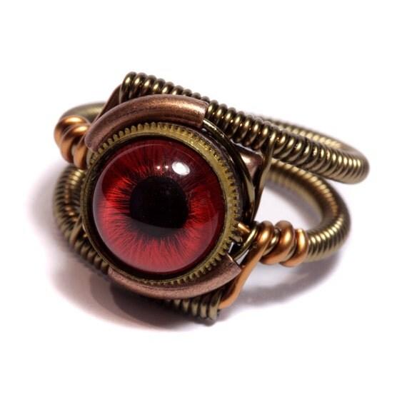 Steampunk Jewelry - Ring - Red taxidermy glass Eye