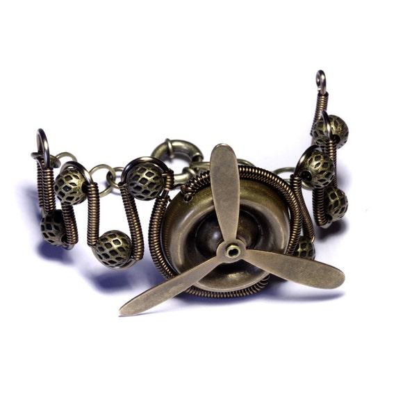Airship Pirate Steampunk Bracelet - Brass Propeller