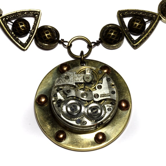 Steampunk Necklace -  WATCH movement  - Mixed Metal tones
