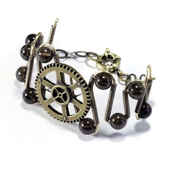 Steampunk Jewelry - Bracelet - Brass Gear and Smoky Quartz