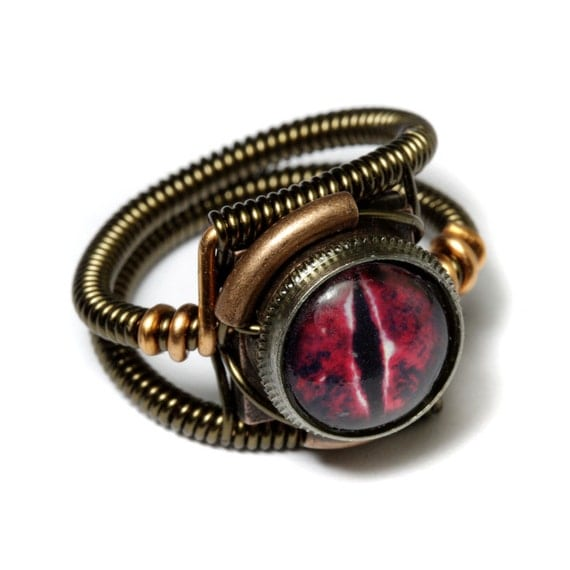 Steampunk Jewelry - RING - Red Dragon Eye - Size 6  ONLY