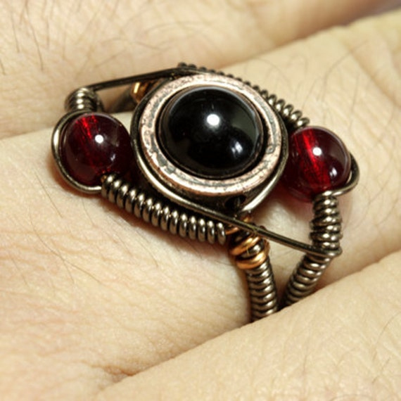 Steampunk Jewelry - Ring - Black and Red - SIZE 10.5 ONLY